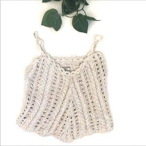 Guess Crochet V-neck Ecru Knit Tank